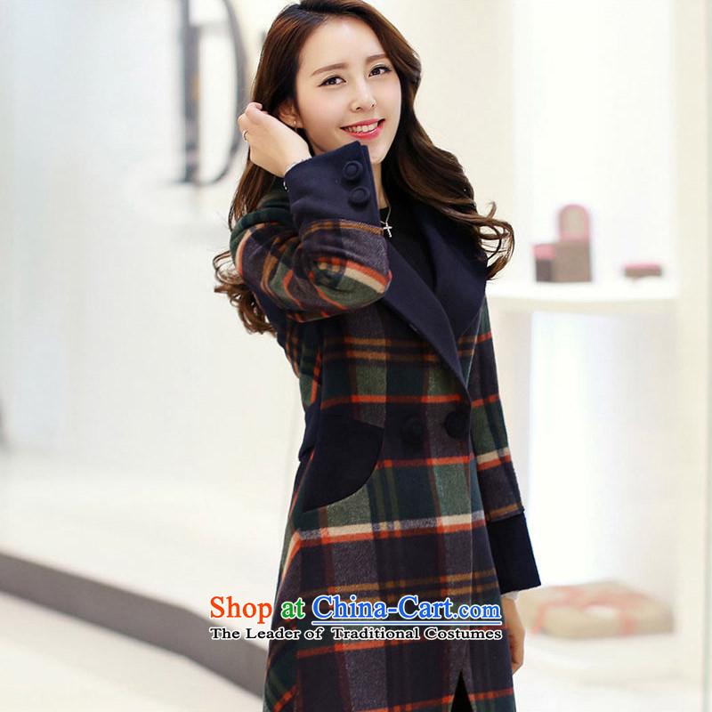 Statements were made by Lau new women's gross grid a wool coat Korean version of Sau San? jacket for larger windbreaker SAA GREEN聽M