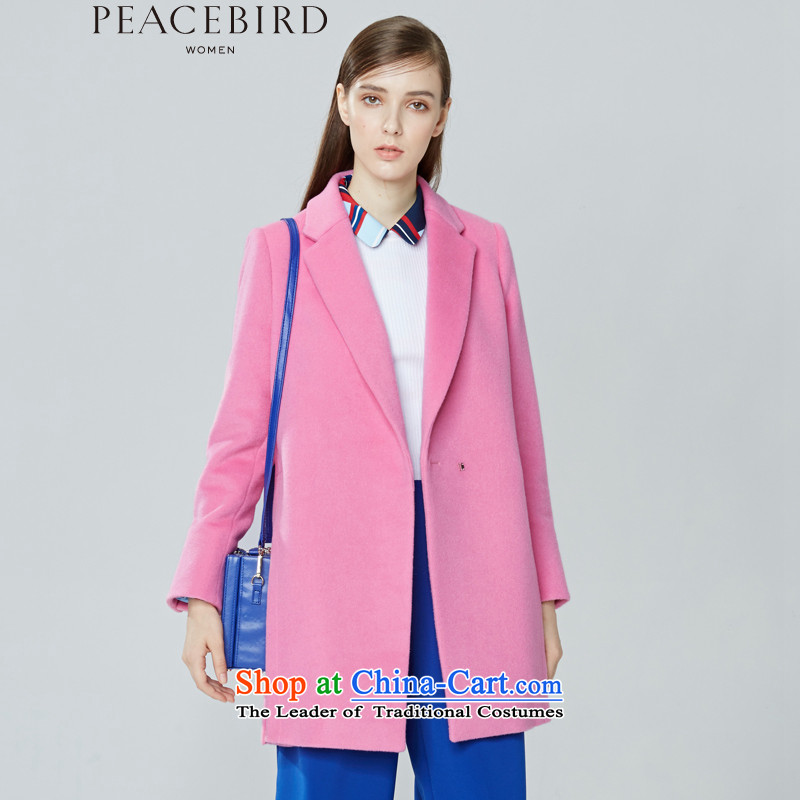 - New shining peacebird Women's Health 2015 winter clothing new products lapel cocoon-coats A4AA54596 pink S