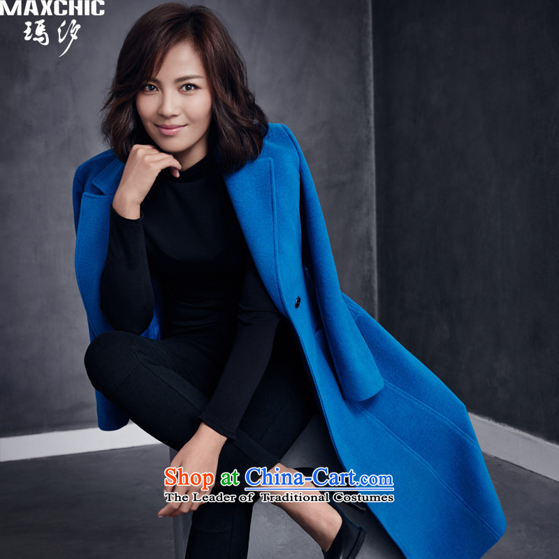 The elections of the same health maxchic stars Marguerite Hsichih 2015 winter lapel a swing long sleek frame-Tether wool coat 22482? Lake Blue M