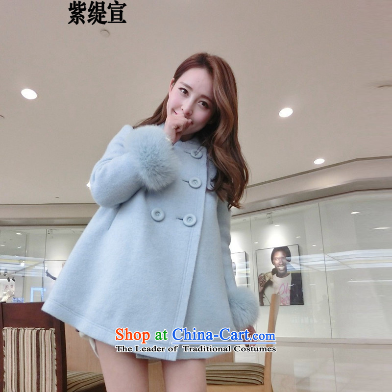 The first declared 2015 as the winter new gross large jacket? female relaxd A version of Fat MM a wool coat cuff /895 5XL gross light blue around 922.747 180-195