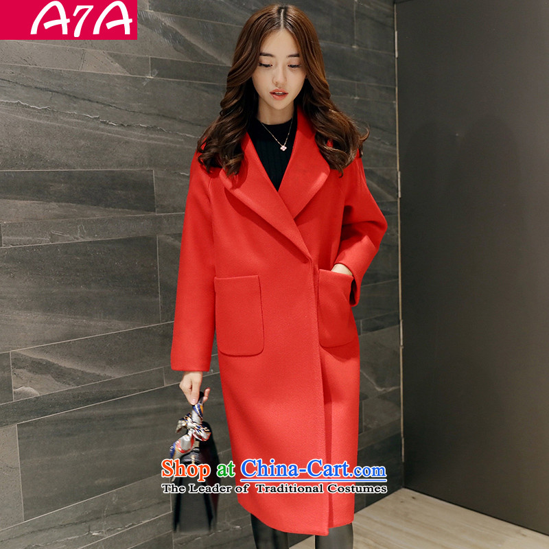 The autumn and winter load gross A7A2015? female Korean version of the jacket long coats gross? 15869 RED燤 code
