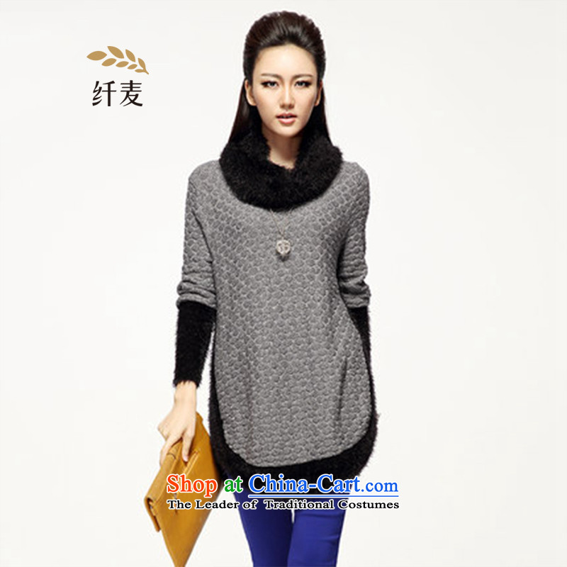 The former Yugoslavia Mak King Code women 2015 Fall/Winter Collections of New England, relaxd mm thick sweater in T-shirt long S14023 grayXL
