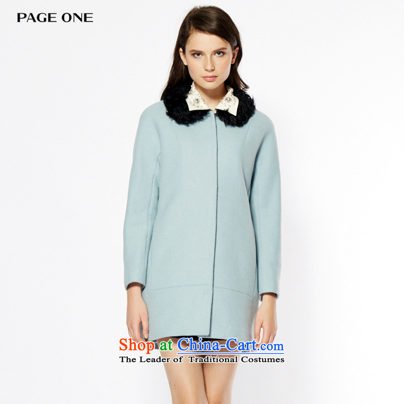 Page ONE_ Peggy�15 winter new gross in pure colors? long wool a wool coat female�4392爈ight blue 21 L