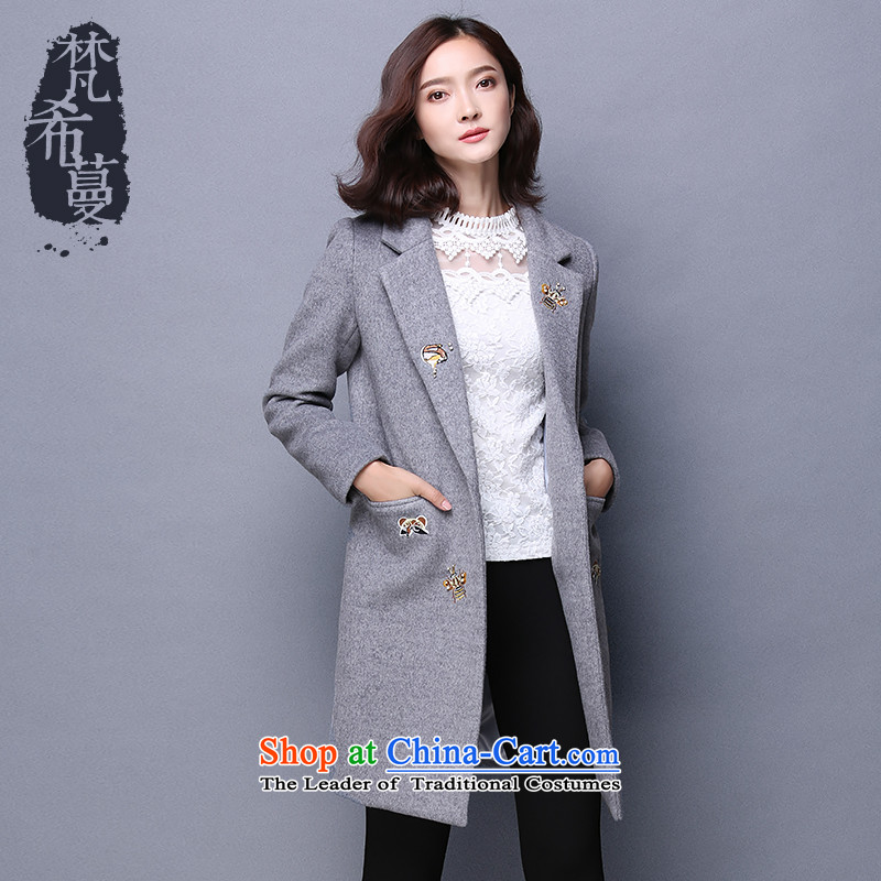Van Gogh Greek Golden Harvest Winter 2015 new Korean fashion a wool coat in the long hair? jacket embroidered personalized Female  66159  M Gray