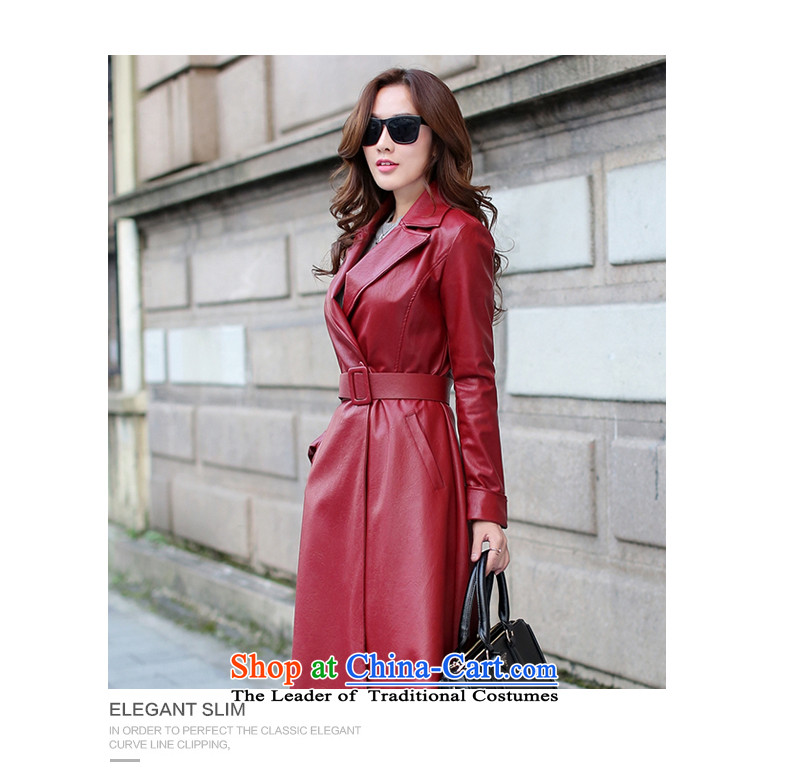 Sin has long leather garments women 2015 Fall/Winter Collections New PU leather garments girl wrapped-yi female Red Jacket coat Sau San聽XL Photo, prices, brand platters! The elections are supplied in the national character of distribution, so action, buy now enjoy more preferential! As soon as possible.