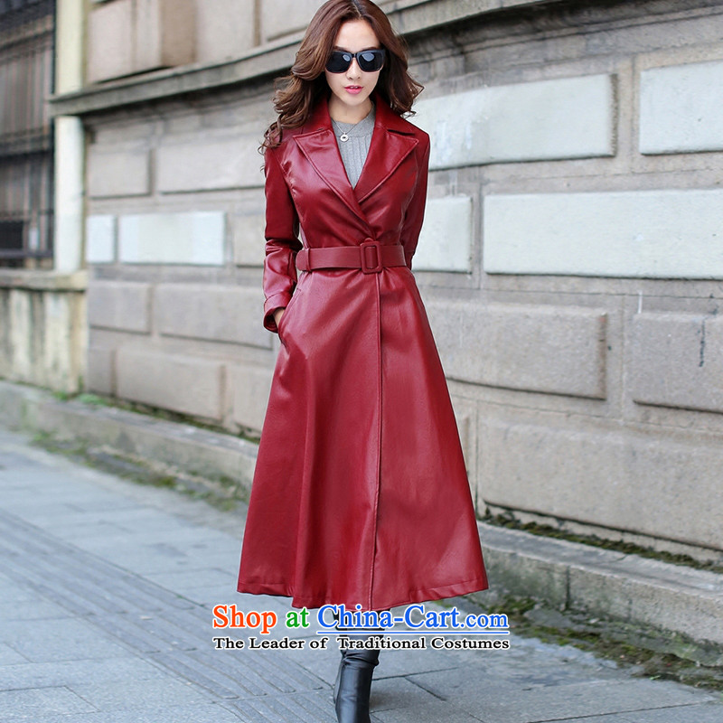 Sin has long leather garments women 2015 Fall_Winter Collections New PU leather garments girl wrapped-yi female Red Jacket coat Sau San聽XL
