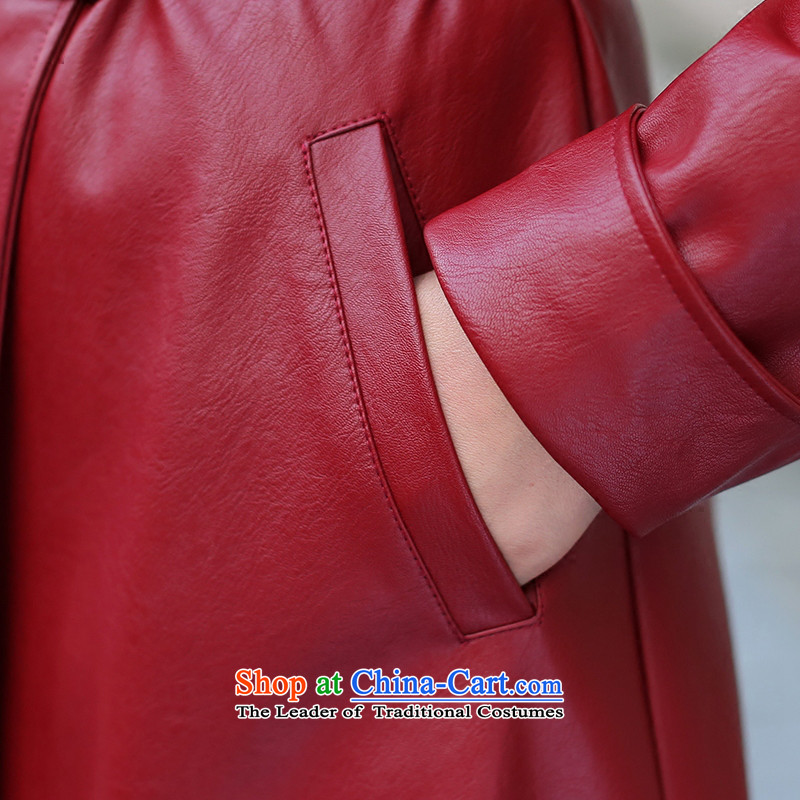 Sin has long leather garments women 2015 Fall/Winter Collections New PU leather garments girl wrapped-yi female Red Jacket coat Sau San聽Sin has.... XL, online shopping