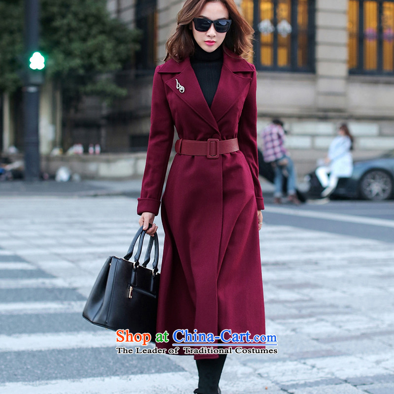聽2015 Autumn and winter has sin temperament long wool coat female Red Hair??? on the girl who grew up coat jacket wine red聽XL
