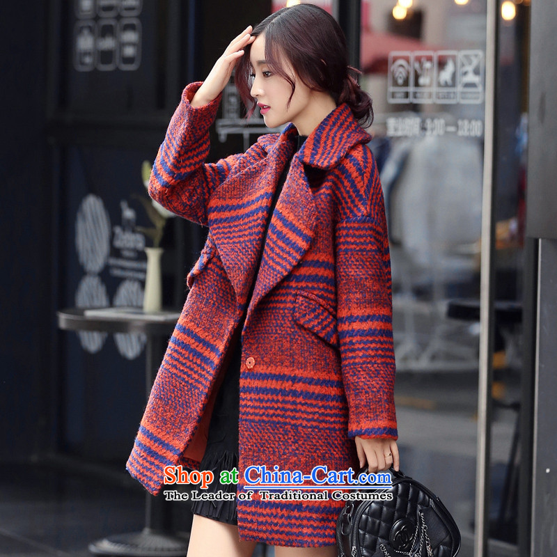 聽2015 Autumn and winter has sin new women's loose side marker-gross rough tweed jacket? a wool coat in long shirts female red聽S