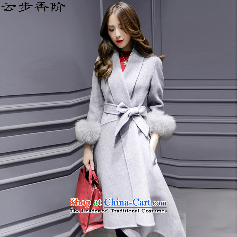 Step cloud of incense to the 2015 autumn and winter female new Korean version in the long hair of Sau San? a jacket coat girls 91.3 Gray?L offset maximum recommended a small code concept