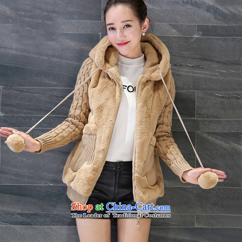 Sin has winter clothing Korean thick and plush cotton jacket stitching smart casual female autumn and winter short_ with cap cotton coat female khaki燤