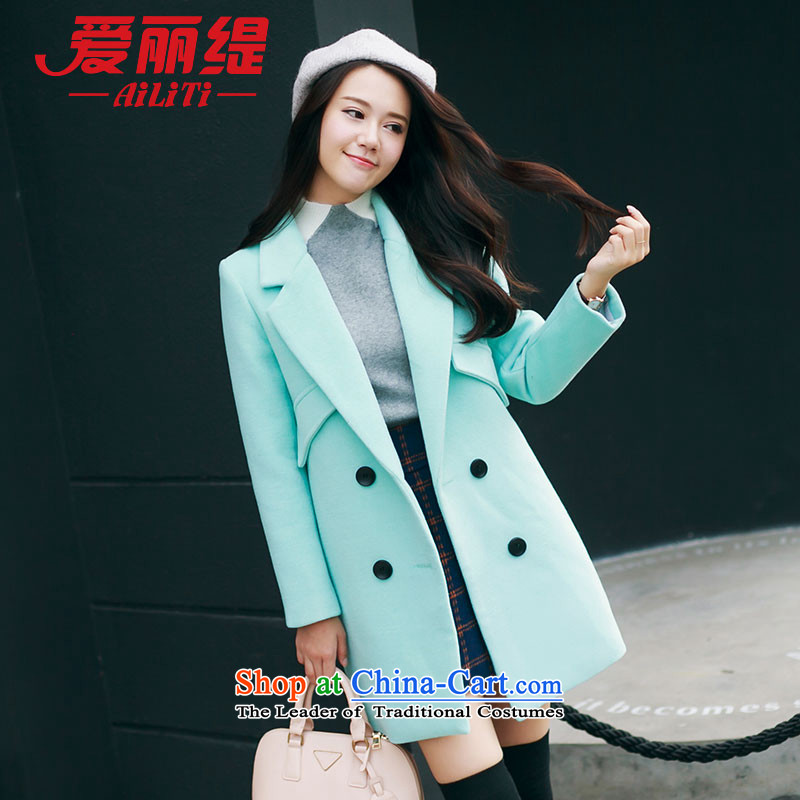 Christy Love 2015 autumn and winter new Korean citizenry Sau San lapel gross jacket tartan child? COAT 3169 female pure green聽M is expected issued on 22 November
