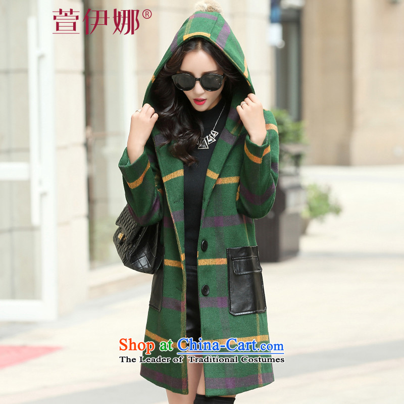 Xuan ina 2015 Korean New Chidori. long thin hair? jacket video female autumn and winter a wool coat cap large flows of Sau San XX8531 green?L