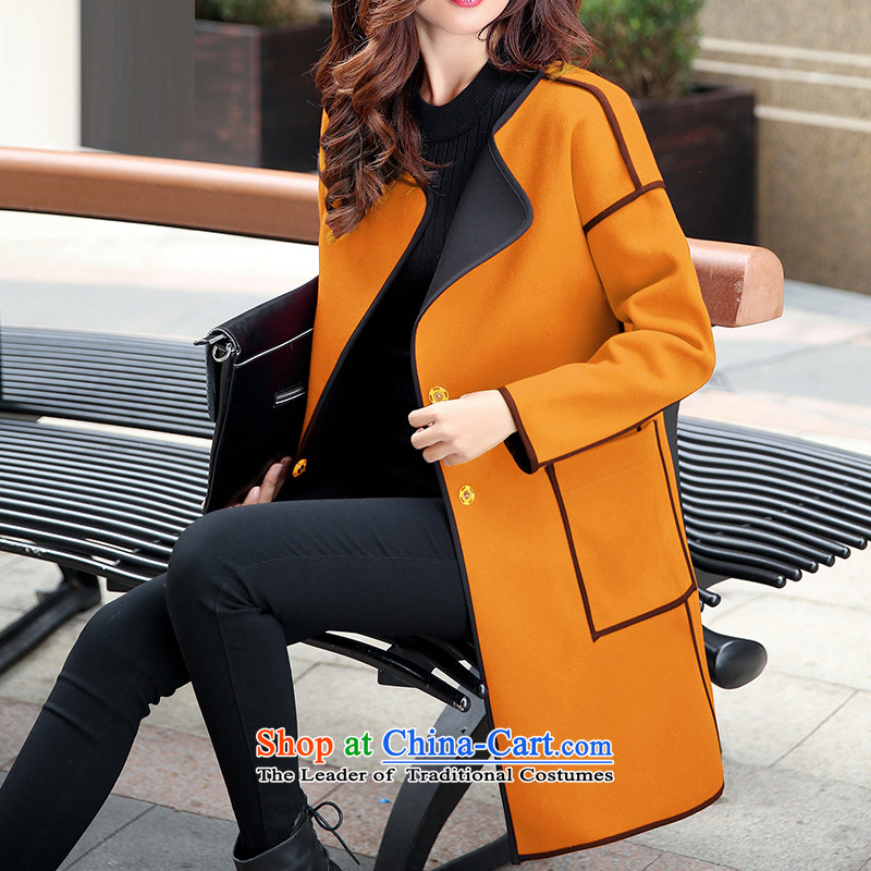 Sin has?loaded the autumn and winter 2015 new Korean girl in gross? jacket long minimalist leisure autumn and winter coats and a female Kim Ho?  XL
