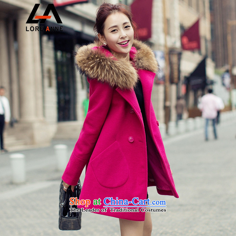 La4 for autumn and winter new Korean women's long-sleeved jacket? for larger gross in Sau San gross for long coats female?1106-N2_N4? N4 better?3XL red