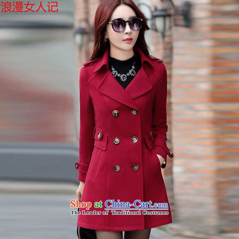 Note that a woman romantic jacket coat female autumn and winter 2015_ Women's jacket Choo Won Edition Video thin hair so Sau San Coat 5893 female wine red L