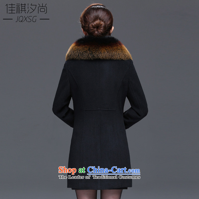 Cashmere overcoat so 790_ gross jacket female 2015 autumn and winter new large middle-aged fox gross for woolen coat black�L