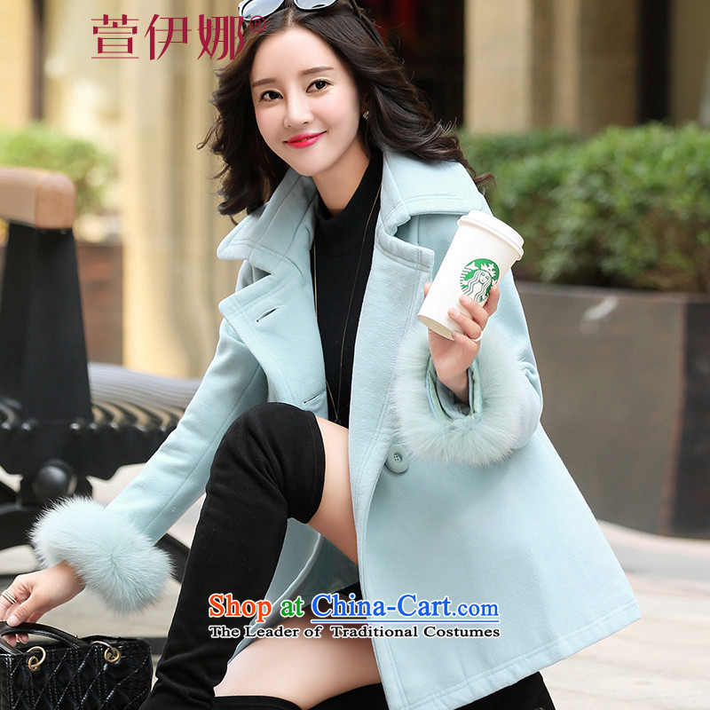 Xuan ina gross shortage of female jacket? 2015 Fall/Winter Collections new Korean Sau San, temperament and elegant small incense wind a wool coat XX8535 lake blue?XXL