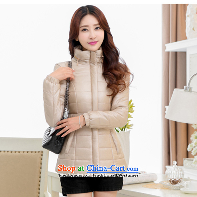 2015 Autumn and winter spring and autumn_ won the new version of the citizenry DOWNCOAT OL female thin thin, short of a short of Sau San downcoat girl in khaki jacketXL