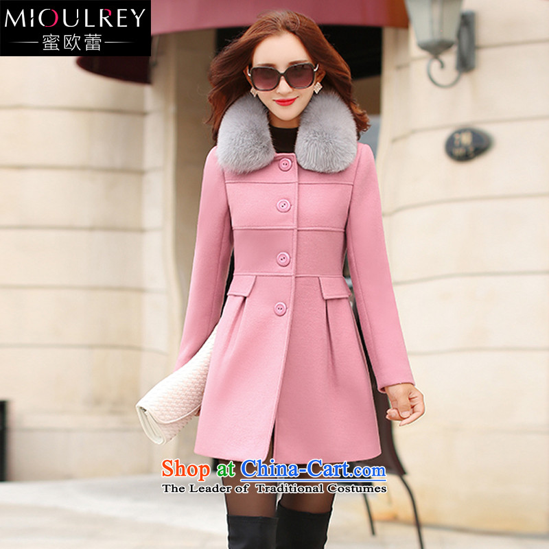 Alfa Romeo Lei Han version 2015 winter for women in new long hair?   Graphics thin casual jacket a wool coat 1047 pinkM