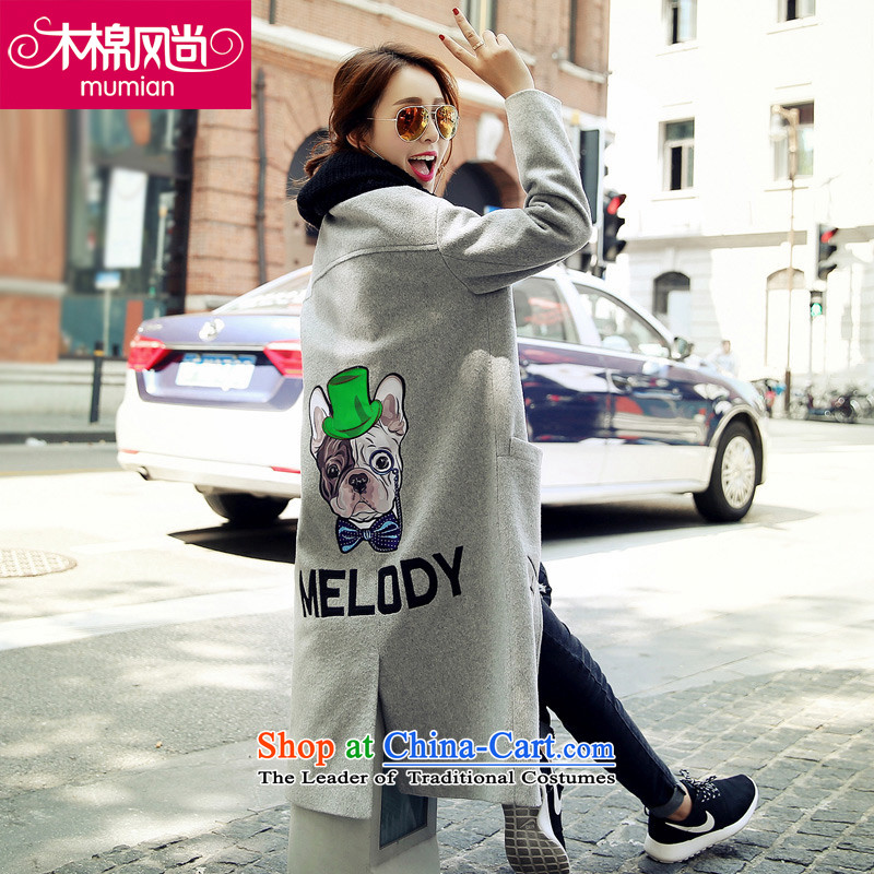 The Kapok64_2015 fashion autumn and winter new Korean letters in Sau San long label of gray jacket?XL