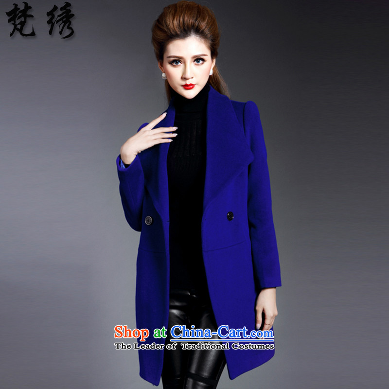 Van Gogh embroidered2015 Fall_Winter Collections new women's body suit for decoration warm jacket coat a gross in long European station1640Royal BlueS