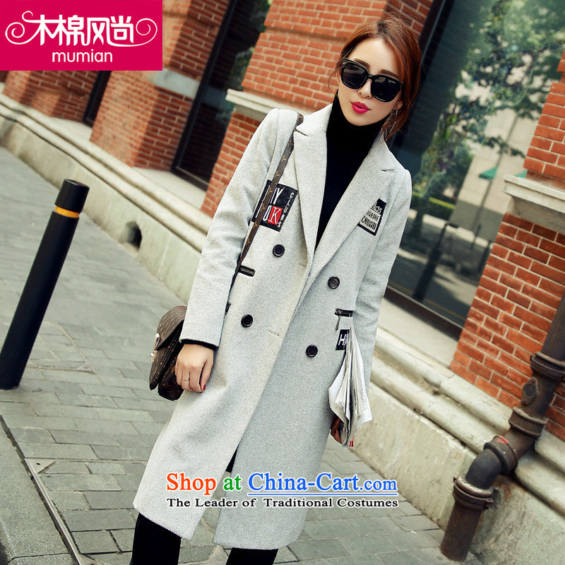 The Kapok�_2015 fashion autumn and winter new Korean letters in Sau San long label of gray coat?燲XL