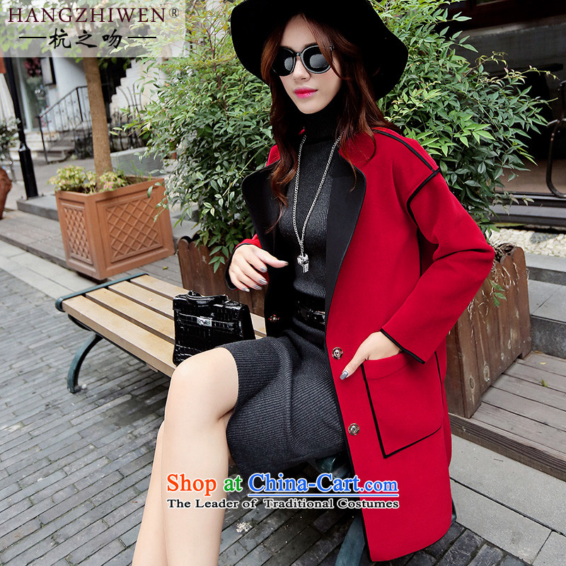 Alejandro Toledo kisses 2015 European site new Korean 2015 big autumn and winter large roll collar jacket in gross? Long temperament a wool coat jacket�4 red燣 offset maximum recommended a small code concept