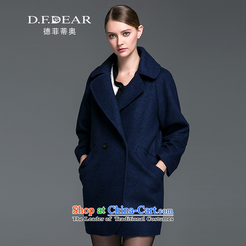 D. F. De Fiti Olara Otunnu DEAR_ autumn and winter new products 7 Sleeve V-neck strain in the wild long hair? jacket DKD8E97K80 dark blue 15 M