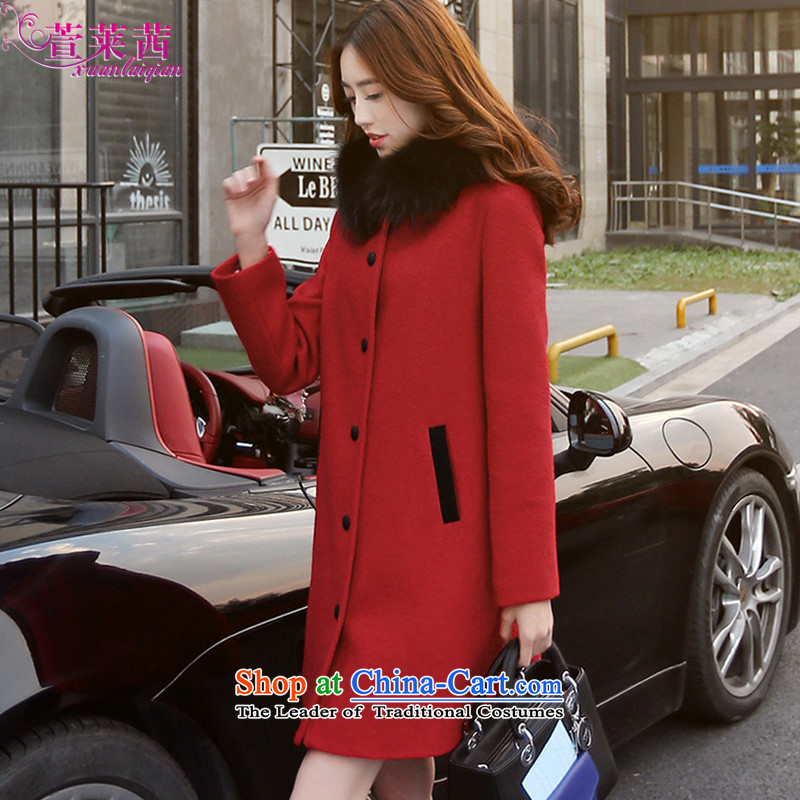 Xuan, Mrs Ure�15 autumn and winter new cap leisure coats that long removable for female hair so nagymaros jacket red燣