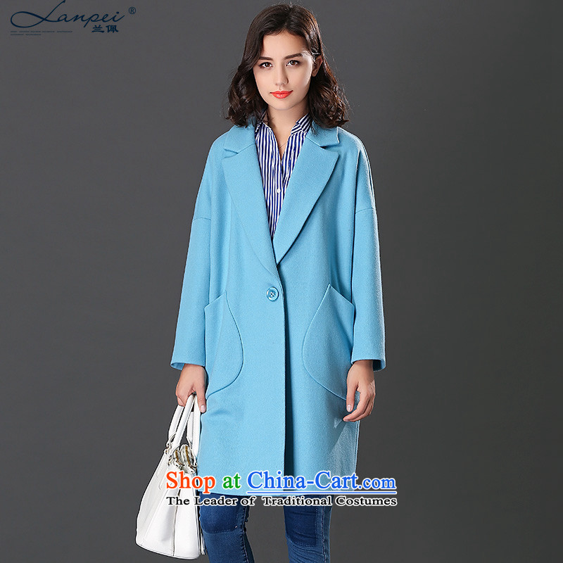 Ho Pui 2015 Fall_Winter Collections in the new Korean long wool a wool coat female suits for gross? jacket blue聽L