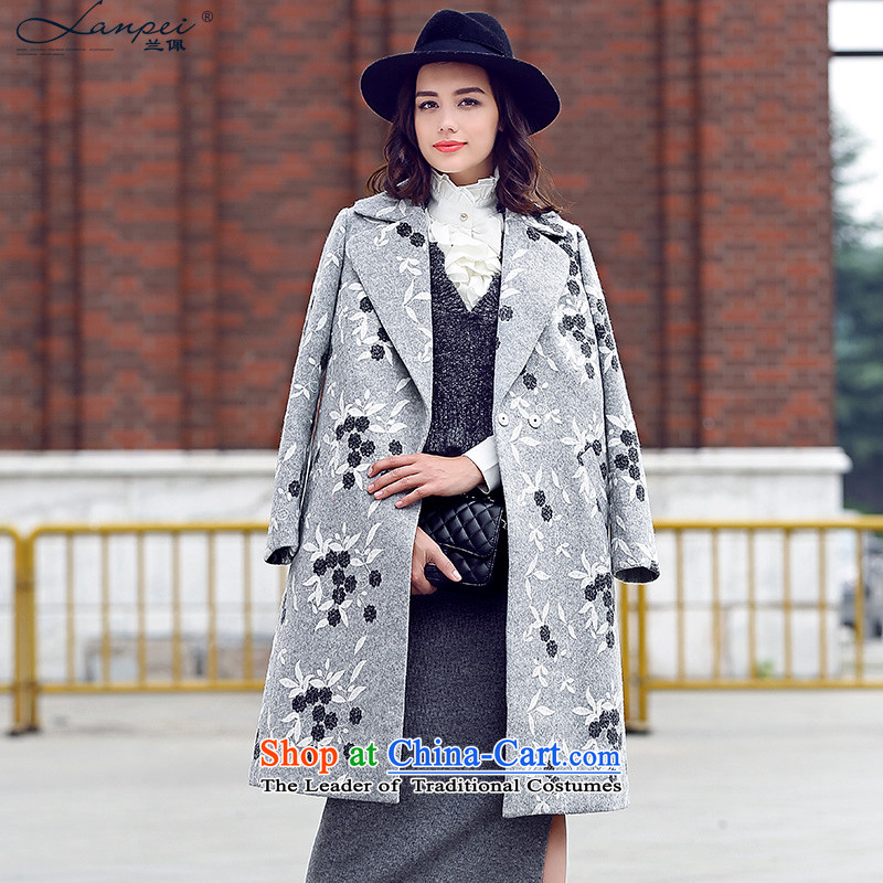 Ho Pui 2015 autumn and winter new woolen suit a wool coat embroidered for Sau San Mao jacket girl in long?_ Gray聽L