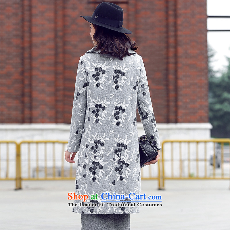 Ho Pui 2015 autumn and winter new woolen suit a wool coat embroidered for Sau San Mao jacket girl in long?)聽, L Ho Pei (gray lanpei shopping on the Internet has been pressed.)