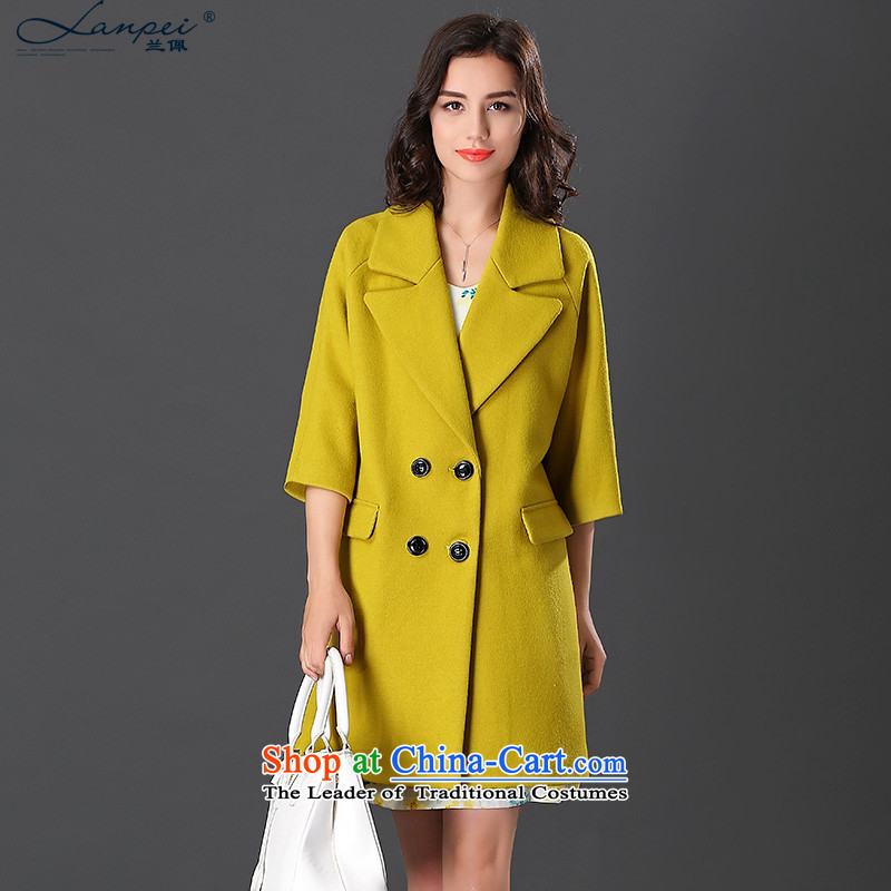 Ho Pui suits for women in the gross? jacket long double-wool a wool coat 7 cuff autumn and winter coats female yellow燣