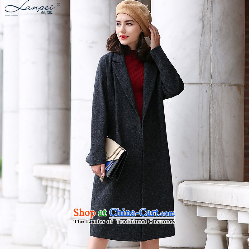 Ho Pui聽2015 winter clothing new cocoon-jacket in gross? long thick suits washable wool a wool coat dark gray聽M