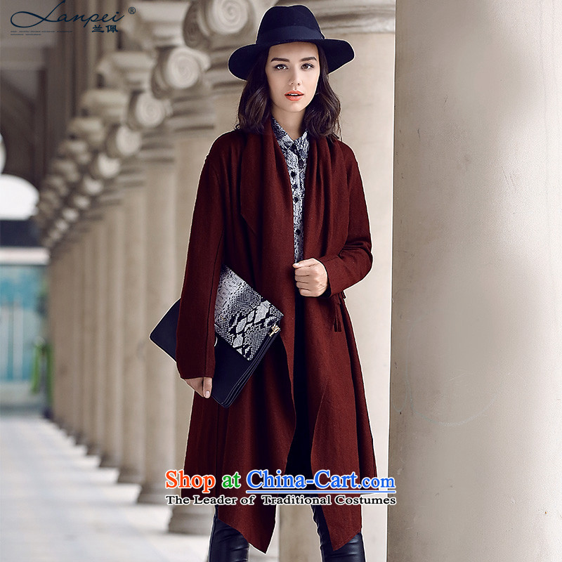 Ho Pui 2015 autumn and winter new larger flip washable wool a wool coat girl in long irregular low gross? jacket, wine red聽L