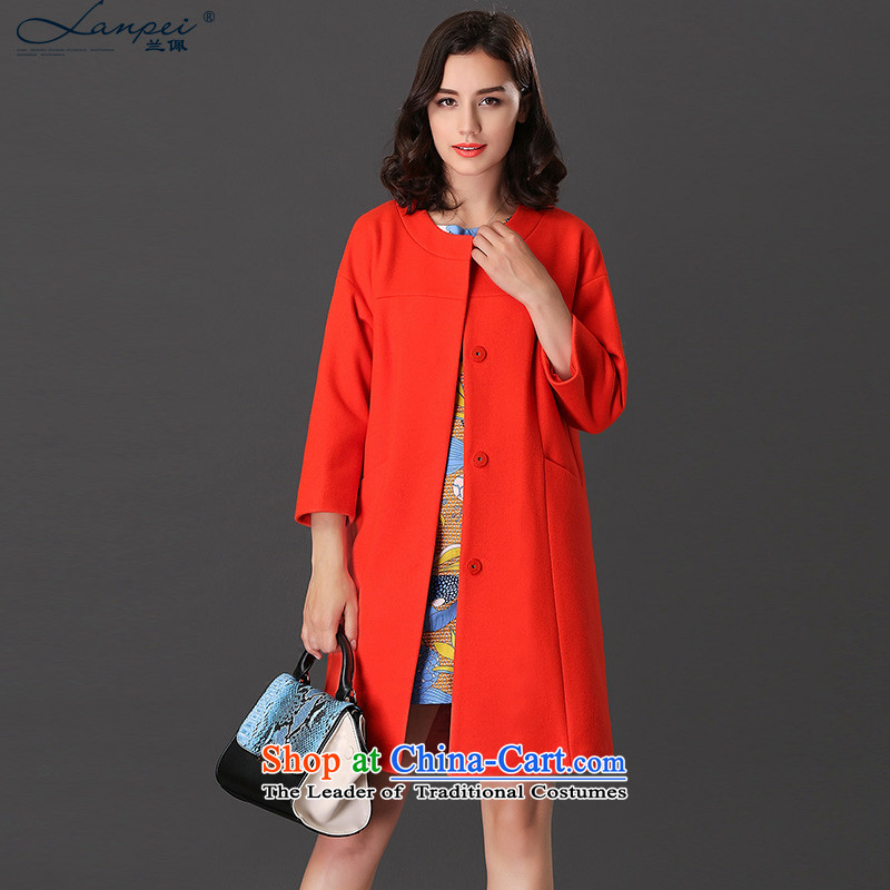 Ho Pui 2015 new autumn and winter clothes in long washable wool a wool coat 9 cuff gross? female watermelon red jacketL