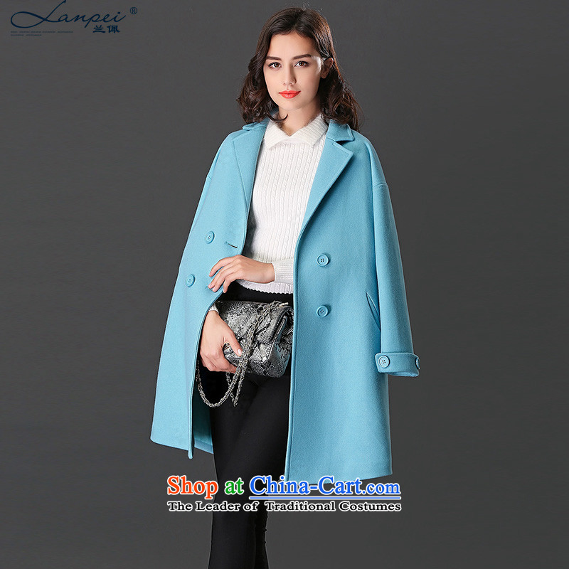 Ho Pui 2015 autumn and winter new suit for long hair? overcoat female Sau San a blue jacket wool M
