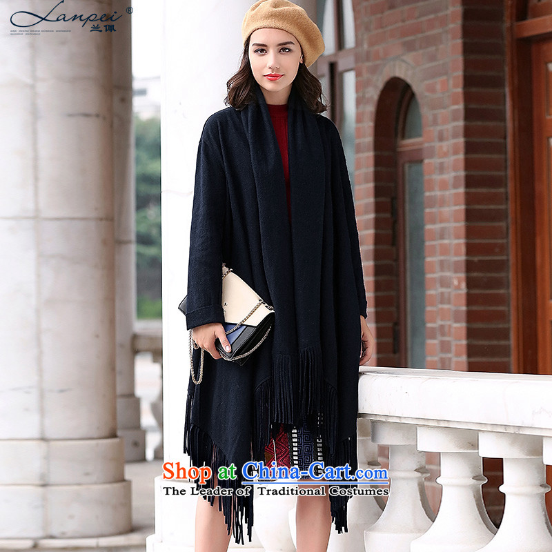 Ho Pui 2015 autumn and winter new liberal thin, double-sided cashmere overcoat girl in long cloak /pashmina shawl jacket color navy L