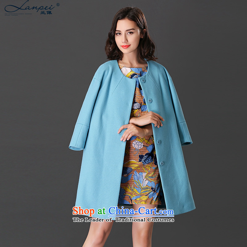Ho Pui 2015 autumn and winter new washable wool a wool coat girl in long-sleeved cloak 9 Gross blue jacket? XL