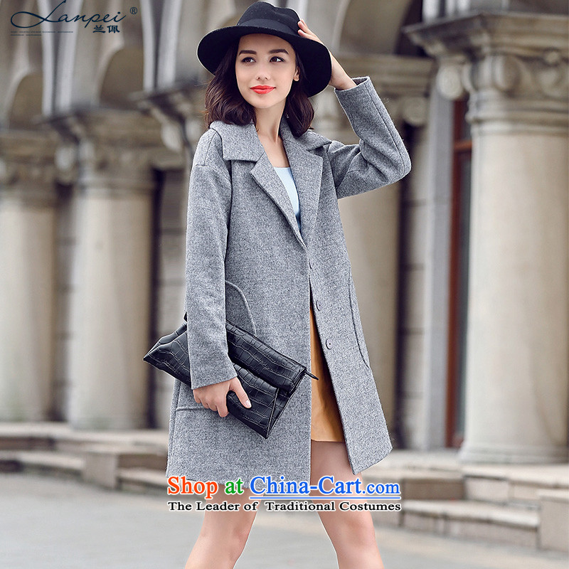 Ho Pui聽2015 autumn and winter new suit washable wool a wool coat female type cocoon Sau San Mao jacket, long_?聽M Gray