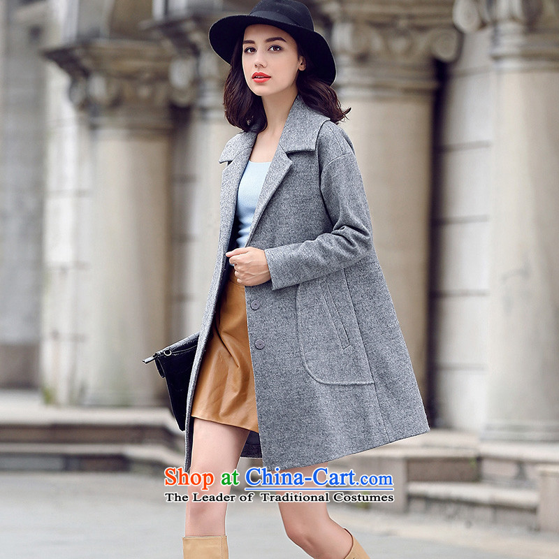 Ho Pui聽2015 autumn and winter new suit washable wool a wool coat female type cocoon Sau San Mao jacket, long)?聽M Ho Pei (gray lanpei shopping on the Internet has been pressed.)
