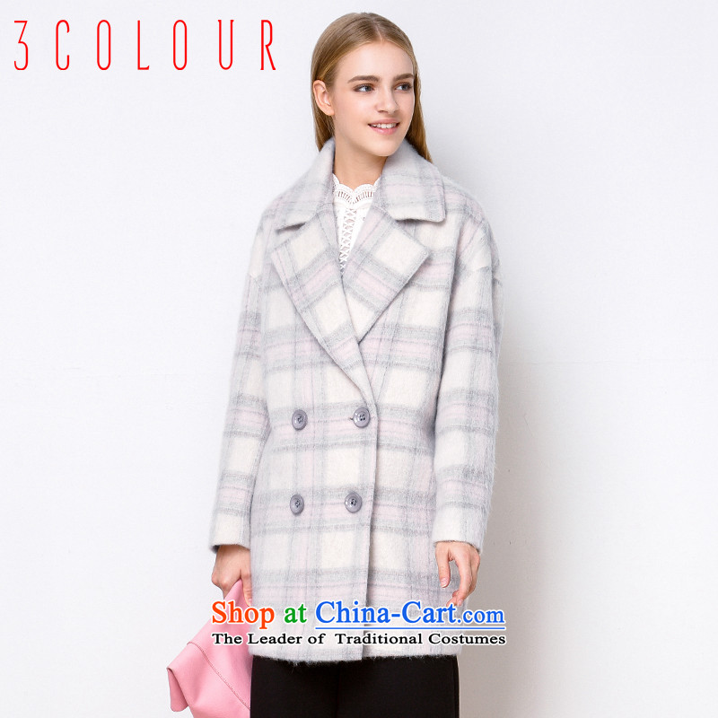 -3- is designed for multimedia new 2015 winter clothing lapel plaid wool coat D542039D00 loose woman? red and white165_88A_L