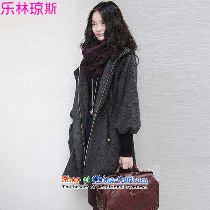Lok Lam Jones of autumn and winter new Korean women's code of the npc thick wool coat 250 catties expertise? mm loose video thin cashmere windbreaker. long coats female 9-gray cotton 7XL_