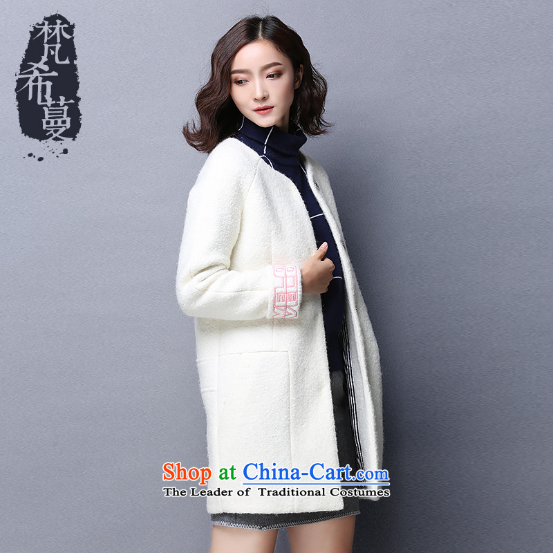 Van Gogh Greek Golden Harvest autumn and winter 2015 new products in the stylish and simple embroidery long solid color woolen coats? 66118 gross?White?M?