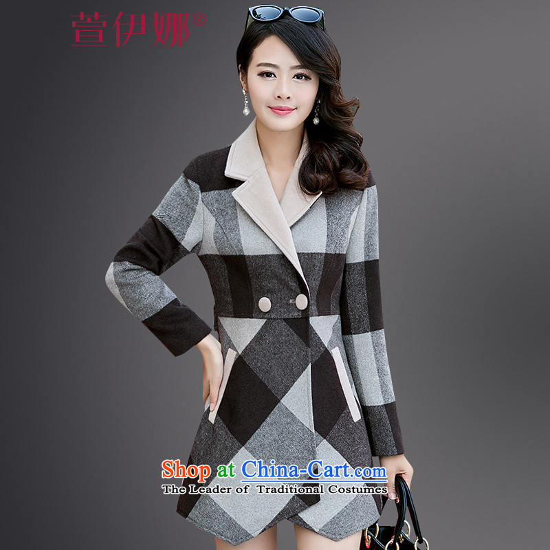 Xuan ina 2015 winter clothing new Korean high-end grid? In long hair stylish Sau San cashmere a wool coat tartan燤