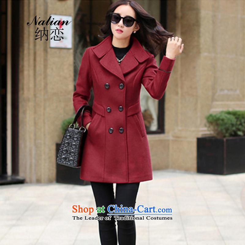 The聽   2015 autumn and winter land Korean Sau San wild fashion, long hair? female jacket coat wine red聽M