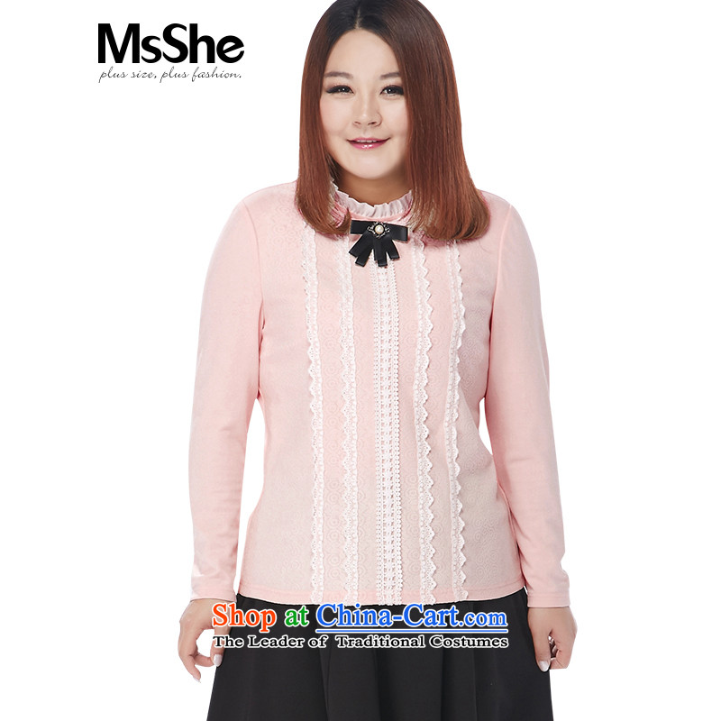 Msshe xl women 2015 winter new thick MM small collar wild lace shirt, forming the Netherlands 11037 pink?2XL
