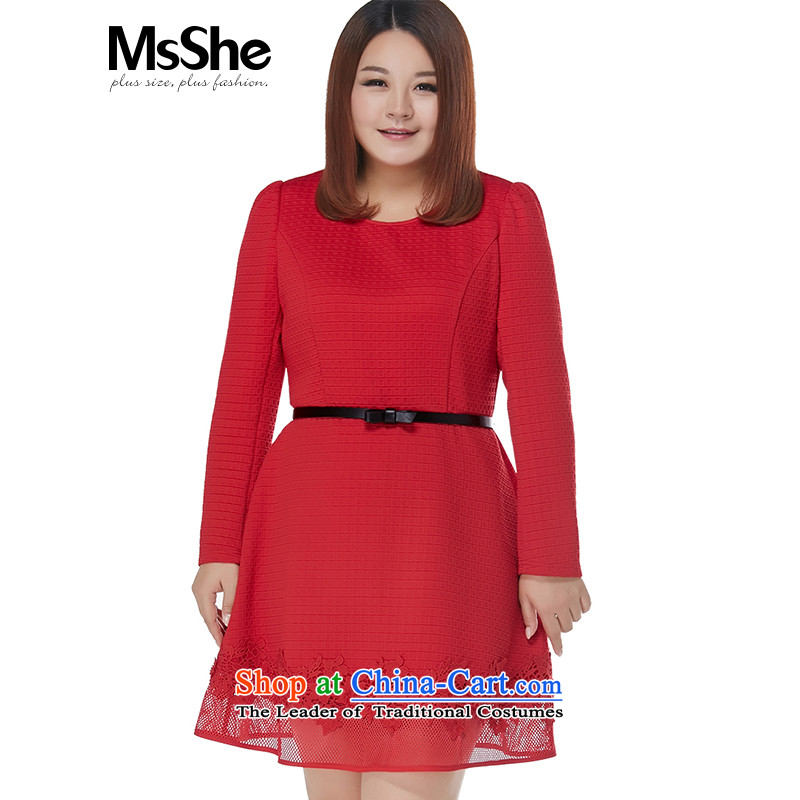 Large msshe women 2015 new winter clothing thick MM Jacquard Lace Argyle spell receive waist skirt the vast majority聽6XL red