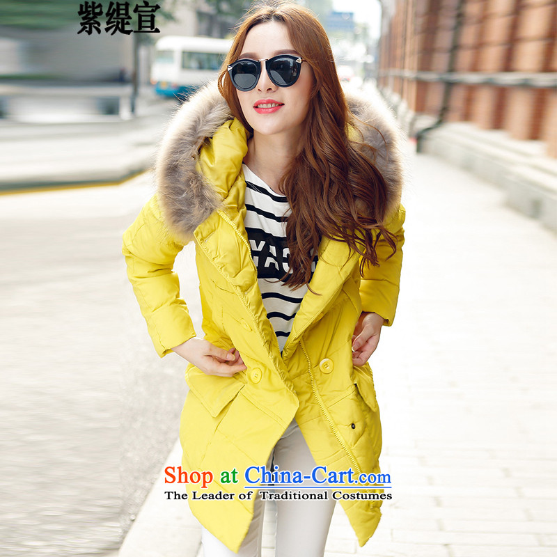 The first declared to economy xl female Korean Fall_Winter Collections New really thin expertise for video gross cotton women in mm long cotton coat jacket燳2583_ Yellow�L 165- around 922.747 175